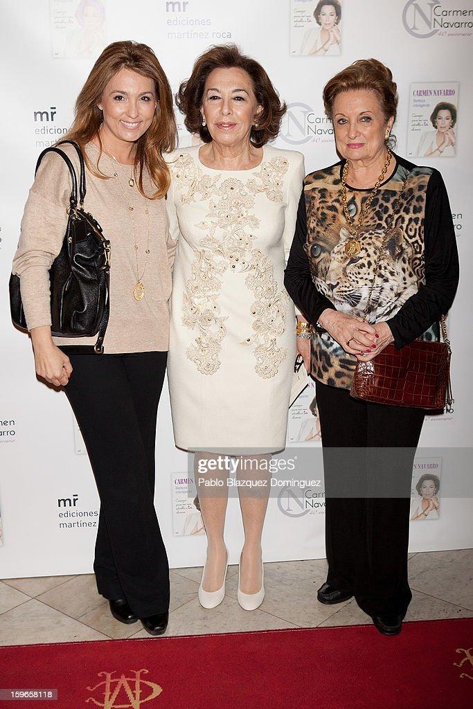 Maria Angeles Sanz, Carmen Navarro and Marian Camino attend new book 'Belleza Inteligente' presentation at Casino de Madrid on January 16, 2013 in Madrid, Spain.