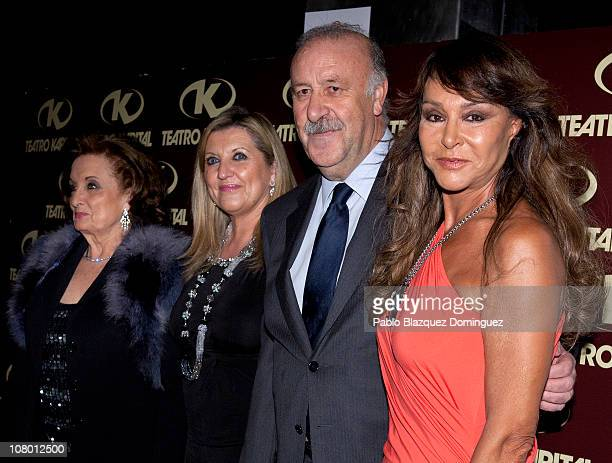 Maria Angeles Sanz Vicente del Bosque and his wife Trini and Maria Angeles Grajal attend 'Las Majas de Goya' Bullfight Awards at Kapital Night Club...