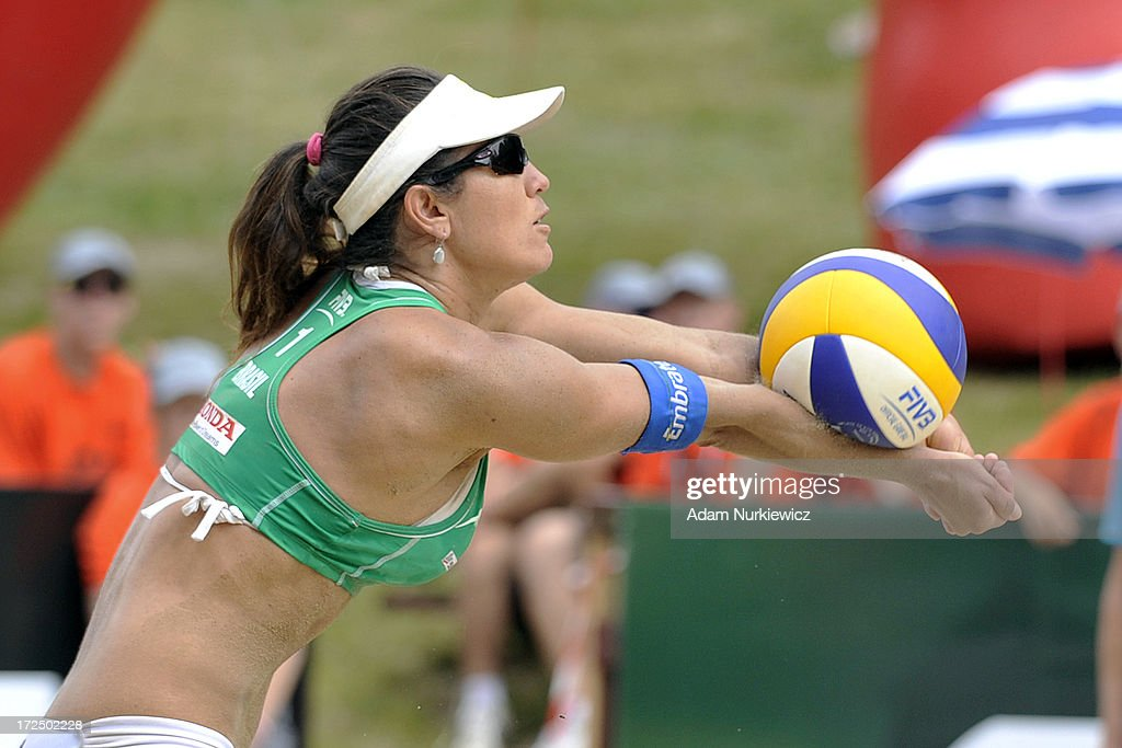 Maria Antonelli of Brazil passes the ball during Day 2 of the FIVB World Championships on July 2, 2013 in Stare Jablonki, Poland.