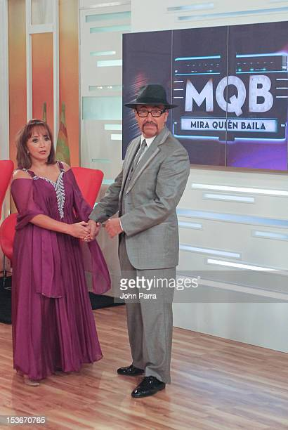 Maria Antonieta de las Nieves and Fernando Arau backstage during Univisions Mira Quien Baila on October 6 2012 in Miami Florida