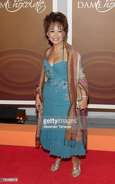Maria Antonieta de las Nieves poses on the red carpet before the premiere of the Telemundo soap opera 'Dame Chocolate' on March 5 2007 in Miami...