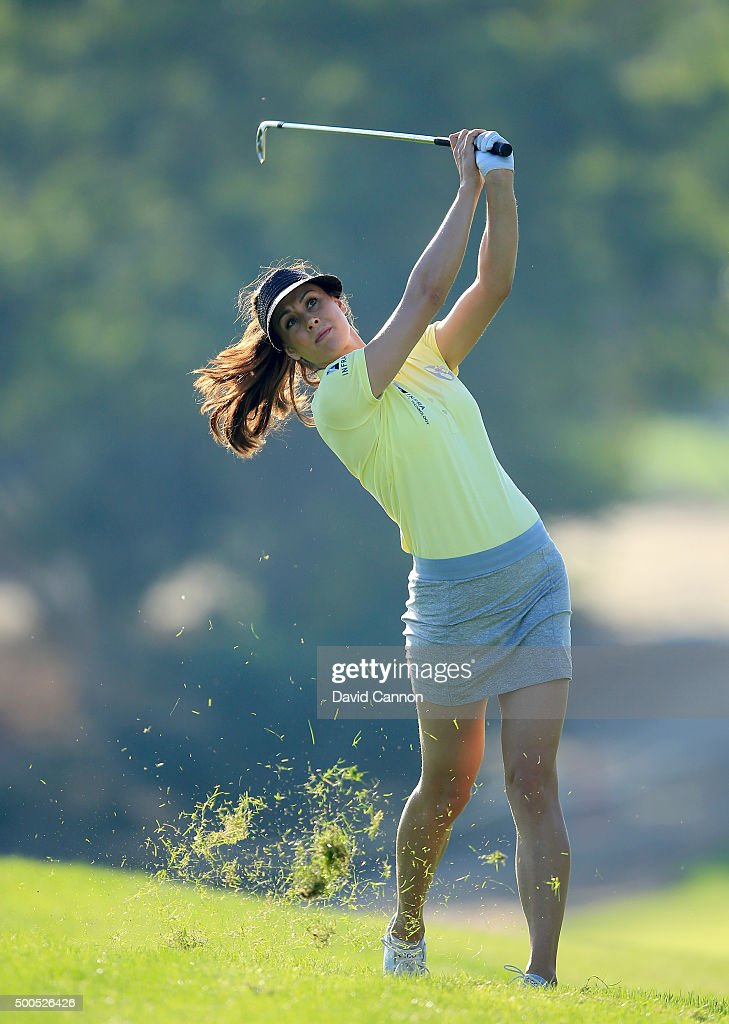 Maria Balikoeva of Russia plays her second shot at the par 4 12th hole during the first round of the 2015 Omega Dubai Ladies Masters on the Majlis...