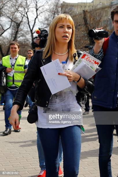 Maria Baronova a blogger journalist and opposition activist is seen here during an unauthorized rally by the Open Russia movement in Moscow Russia on...