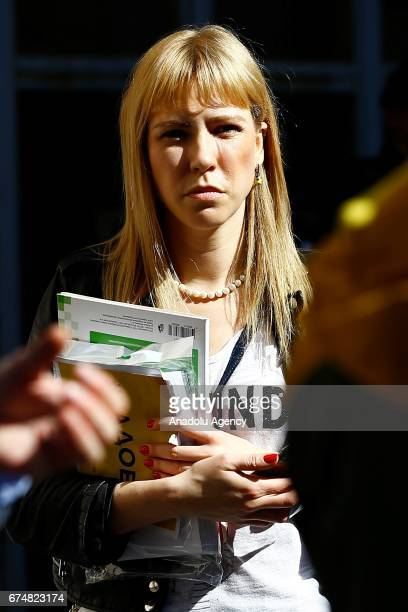 Maria Baronova a blogger journalist and opposition activist is seen during an unauthorized rally by the Open Russia movement in Moscow Russia on...
