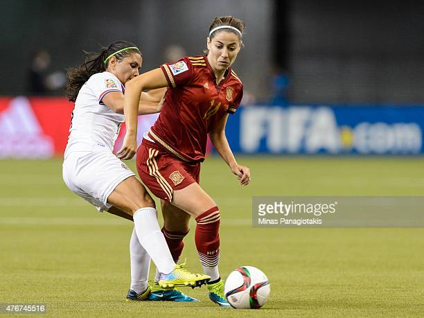 Maria Barrantes of Costa Rica challenges Vicky Losada of Spain during the 2015 FIFA Women's World Cup Group E match at Olympic Stadium on June 9 2015...