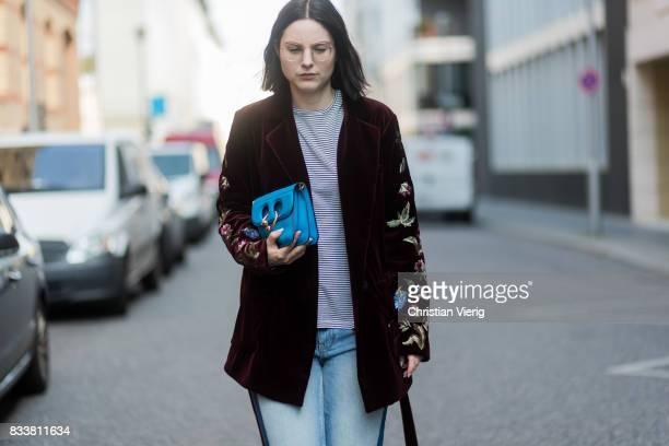 Maria Barteczko wearing bordeaux floral velvet jacket Bazar Deluxe striped shirt Isabel Marant Etoile reworked jeans Zara black satin slingbacks...
