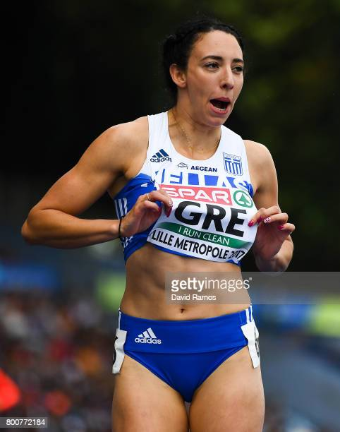 Maria Belibasaki of Greece after winning in the Women's 200m Final during day three of the European Athletics Team Championships at the Lille...