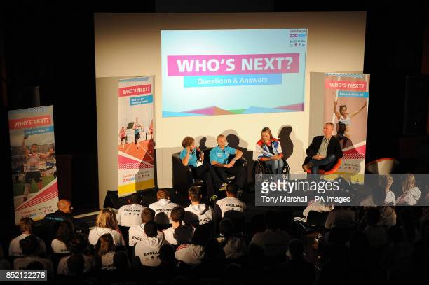 Maria Bertelli Ben Quilter and Hannah Cockroft speak to Matt Slater at the Who's Next event on day two of the 2013 Sainsburys School Games at...