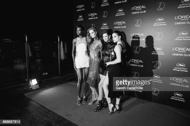 Maria Borges Alexina Graham Bianca Balti and Barbara Palvin attend L'Oreal Paris Cinema Club party during the 70th Cannes Film Festival at Martinez...
