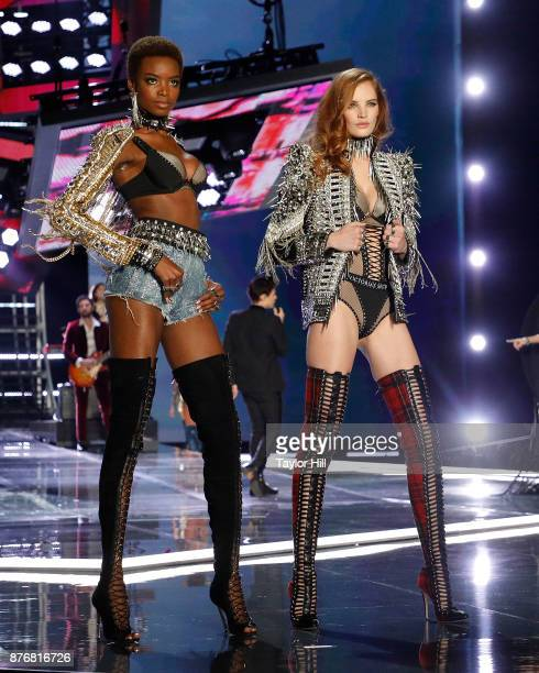 Maria Borges and Alexina Graham walk the runway during the 2017 Victoria's Secret Fashion Show at MercedesBenz Arena on November 20 2017 in Shanghai...