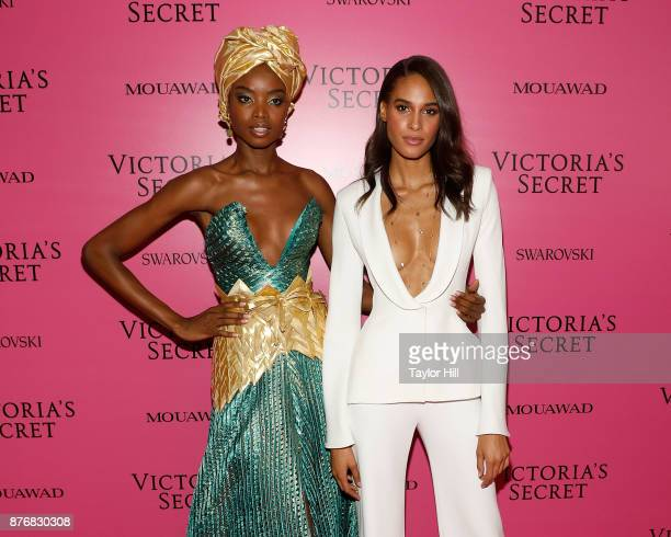 Maria Borges and Cindy Bruna attend the 2017 Victoria's Secret Fashion Show After Party on November 20 2017 in Shanghai China