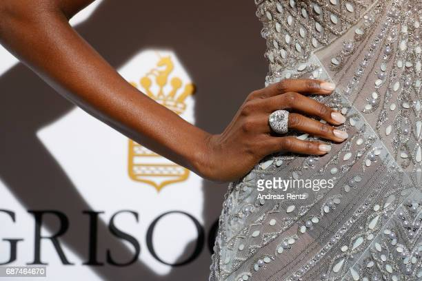 Maria Borges ring detail attends the DeGrisogono 'Love On The Rocks' during the 70th annual Cannes Film Festival at Hotel du CapEdenRoc on May 23...