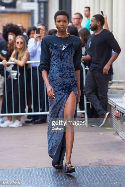 Maria Borges walks the runway during the Baja East fashion show during New York Fashion Week in SoHo on September 12 2017 in New York City