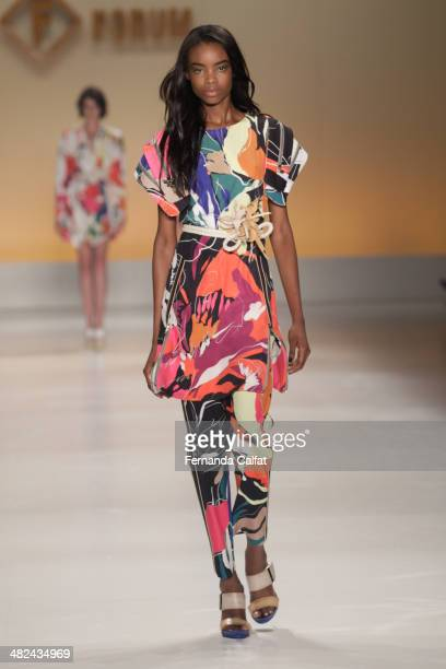 Maria Borges walks the runway during the Forum show at Sao Paulo Fashion Week Summer 2014/2015 at Parque Candido Portinari on April 3 2014 in Sao...