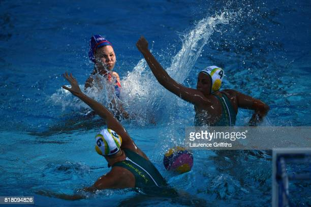 Maria Borisova of Russia shoots on goal during the Women's Water Polo Group D preliminary round match between Australia and Russia on day five of the...
