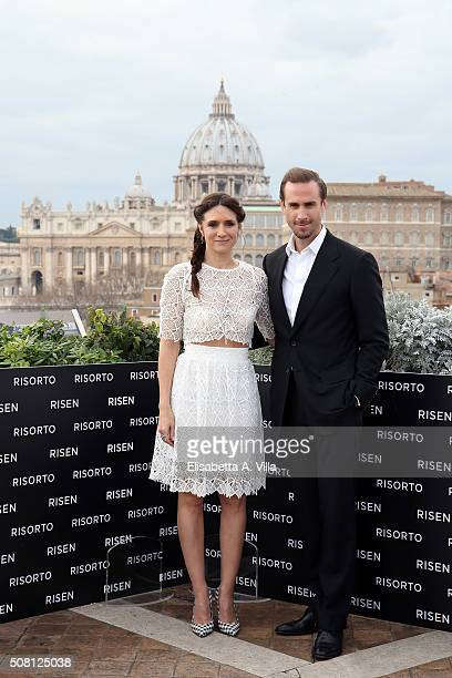 Maria Botto and Joseph Fiennes attend a photocall for 'Risen' on February 3 2016 in Rome Italy
