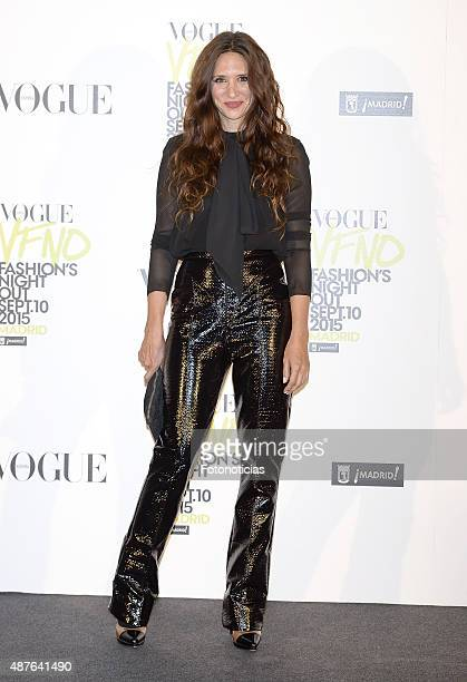 Maria Botto attends the Vogue Fashion Night Out Madrid 2015 photocall at the Vogue VIP Tent on September 10 2015 in Madrid Spain