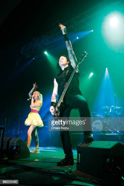 Maria Brink and Jesse Landry of In This Moment performs on stage at the Give It A Name Incoming Tour 2009 at Brixton Academy on April 17 2009 in...