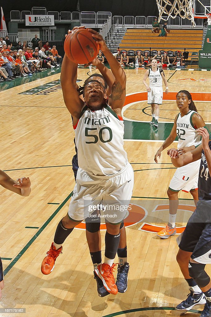 Maria Brown #50 of the Miami Hurricanes controls the offensive rebound against the Penn State Lady Lions on November 29, 2012 at the BankUnited Center in Coral Gables, Florida. Miami defeated Penn State 69-65.