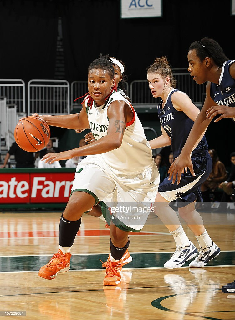 Maria Brown #50 of the Miami Hurricanes dribbles the ball against the Penn State Lady Lions on November 29, 2012 at the BankUnited Center in Coral Gables, Florida. Miami defeated Penn State 69-65.