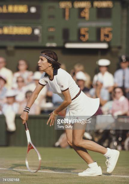 Maria Bueno of Brazil serves to Billie Jean King during their Women's Singles third round match at the Wimbledon Lawn Tennis Championship on 25 June...