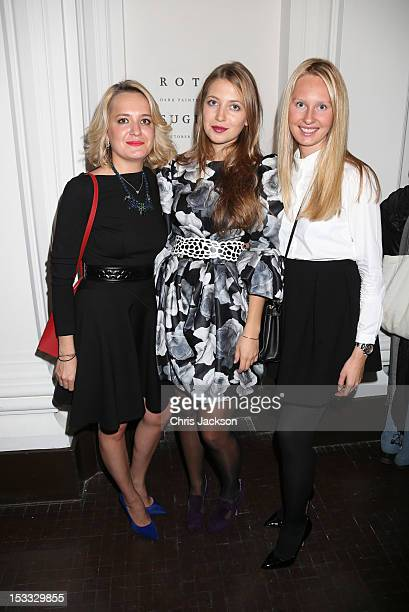 Maria Bukhtoyarova and Valentina Volchkova attend the launch of Pace London at 6 Burlington Gardens the Royal Academy on October 3 2012 in London...