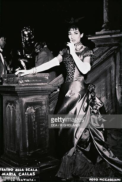 Maria Callas Americanborn Greek soprano as Violetta in La Traviata by Giuseppe Verdi in a 1955 production at the La Scala Theatre in Milan Milan...