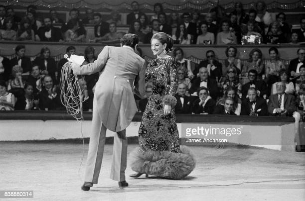 Maria Callas Greek Opera singer and Mr Bouglione at the Union of artists Gala Paris 24th April 1971
