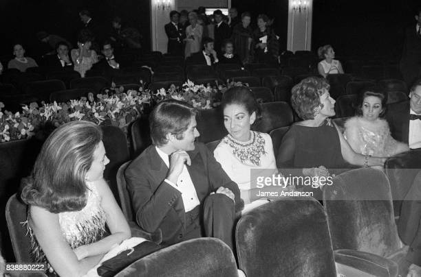 Maria Callas Greek Opera singer in the centre at the première of the film 'Oliver' 6th December 1968