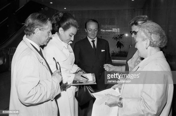 Maria Callas Greek Opera singer signing autographs before her flight to Istanbul 31st May 1969