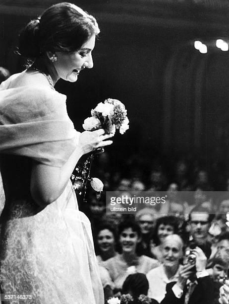 Maria Callas Sängerin Sopran USA / Griechenland während eines Konzertes in der Hamburger Musikhalle Aufnahme Jochen Blume