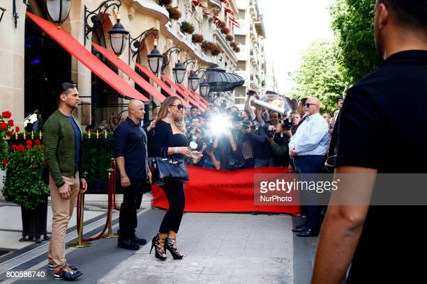 Maria Carey leaves the Plaza Athenee hotel in Paris France on june 24 2017
