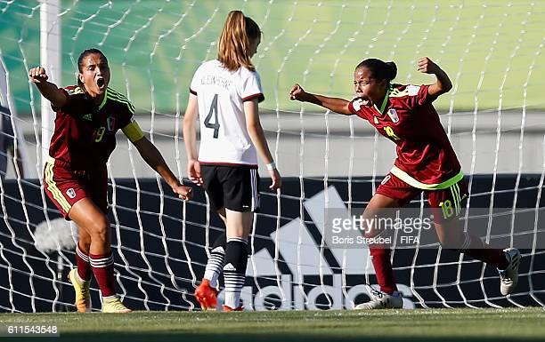 Maria Cazorla of Venezuela celebrates after scoring her team's first goal during the FIFA U17 Women's World Cup Group B match between Venezuela and...