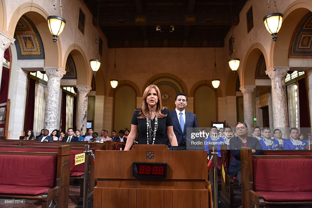 <a gi-track='captionPersonalityLinkClicked' href=/galleries/search?phrase=Maria+Celeste+Arraras&family=editorial&specificpeople=221494 ng-click='$event.stopPropagation()'>Maria Celeste Arraras</a> (L) and Councilman Jose Huizar speak at The City of Los Angeles Honors <a gi-track='captionPersonalityLinkClicked' href=/galleries/search?phrase=Maria+Celeste+Arraras&family=editorial&specificpeople=221494 ng-click='$event.stopPropagation()'>Maria Celeste Arraras</a> at Los Angeles City Hall on May 24, 2016 in Los Angeles, California.