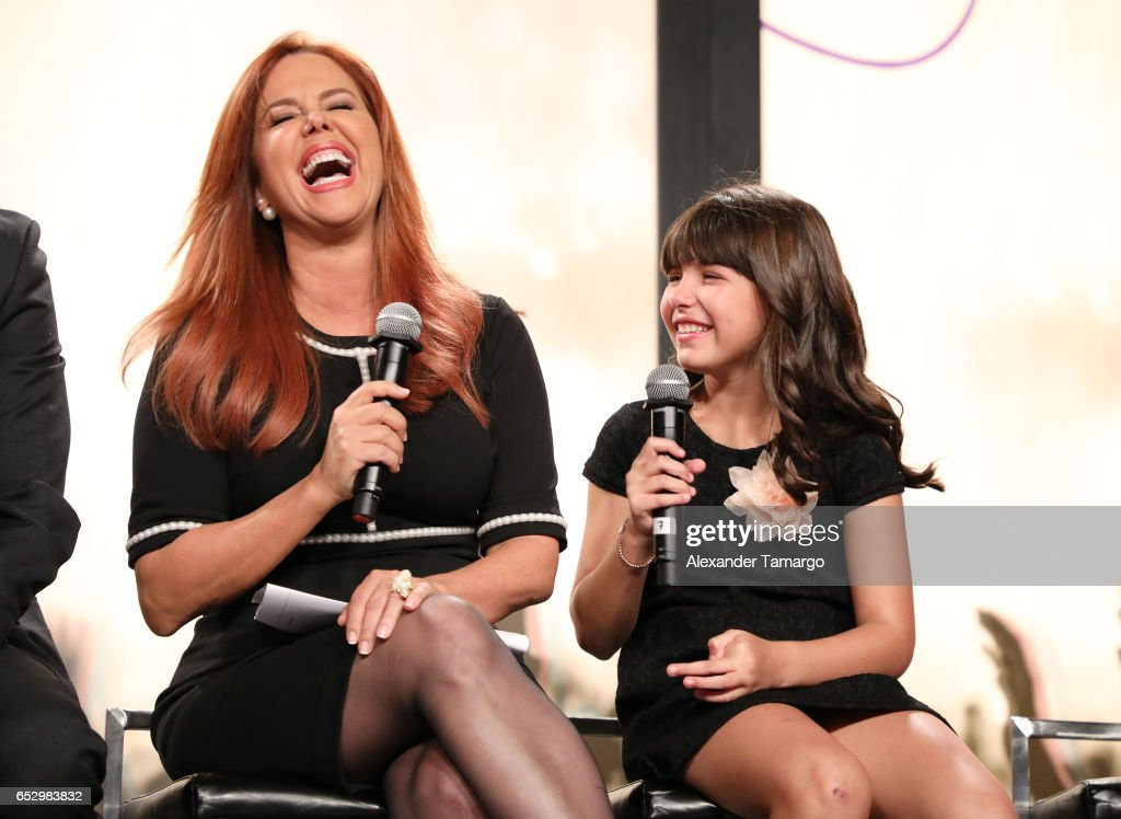 Maria Celeste Arraras and Regina Orquin are seen at the introduction of the cast of 'Jenni Rivera: Mariposa de Barrio' at Telemundo Studios on March 13, 2017 in Miami, Florida.