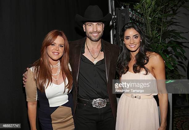 Maria Celeste Arraras Rafael Amaya and Paola Nunez attend Telemundo Luncheon to launch 'Camelia Le Texana' during NATPE at Eden Roc Hotel on January...