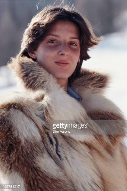 Maria Christina Giaconelli poses wearing a fur coat in Cortina d'Ampezzo Italy March 1976