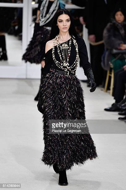 Maria Clara Boscono walks the runway during the Chanel show as part of the Paris Fashion Week Womenswear Fall/Winter 2016/2017 on March 8 2016 in...