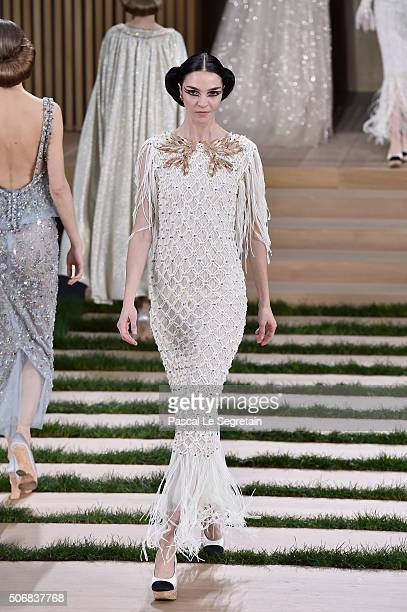 Maria Clara Boscono walks the runway during the Chanel Spring Summer 2016 show as part of Paris Fashion Week on January 26 2016 in Paris France