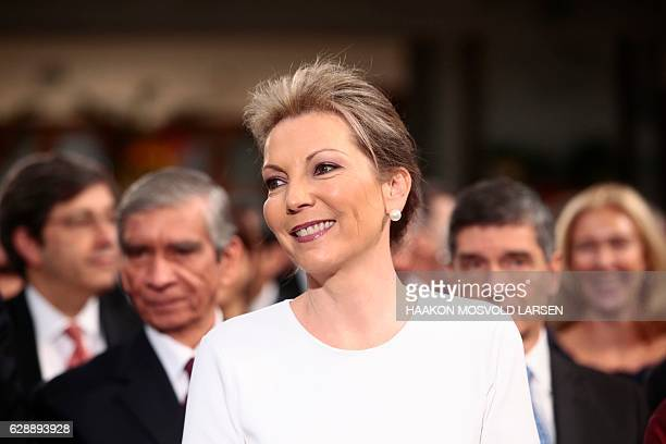Maria Clemencia Rodriguez wife of Colombian President Juan Manuel Santos arrives for the Peace Prize awarding ceremony at the City Hall in Oslo on...