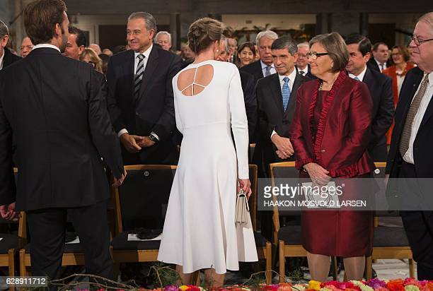 Maria Clemencia Rodriguez wife of Colombian President Juan Manuel Santos attends the Peace Prize awarding ceremony at the City Hall in Oslo on...