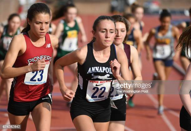 Maria Coffin of Annapolis High competes in the 3000m Championship during the 123rd running of the Penn Relays in Philadelphia PA on April 27 2017