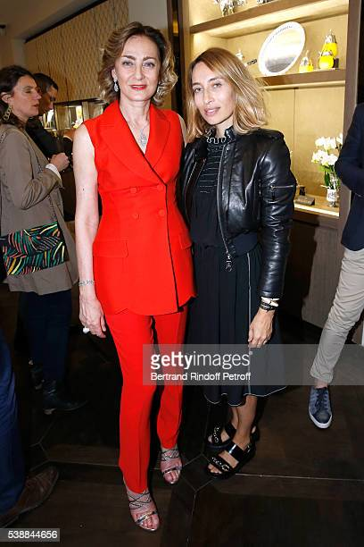 Maria Cristina Buccellati and Alexandra Golovanoff attend the Opening of the Boutique Buccellati situated 1 Rue De La Paix in Paris on June 8 2016 in...