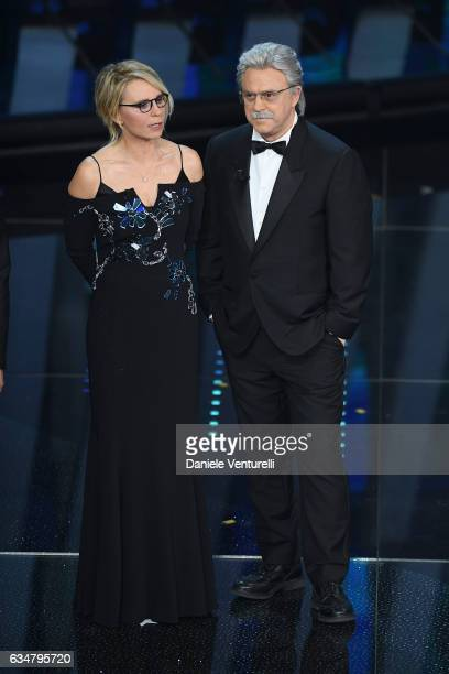 Maria De Filippi and Maurizio Crozza attend the closing night of 67th Sanremo Festival 2017 at Teatro Ariston on February 11 2017 in Sanremo Italy