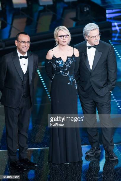 Maria De Filippi Carlo Conti and Maurizio Crozza attend the closing night of 67th Sanremo Festival 2017 at Teatro Ariston on February 11 2017 in...