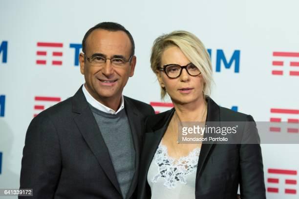 Maria De Filippi e Carlo Conti conductors of 67° Sanremo Music Festival attends a photocall Sanremo February 8 2017