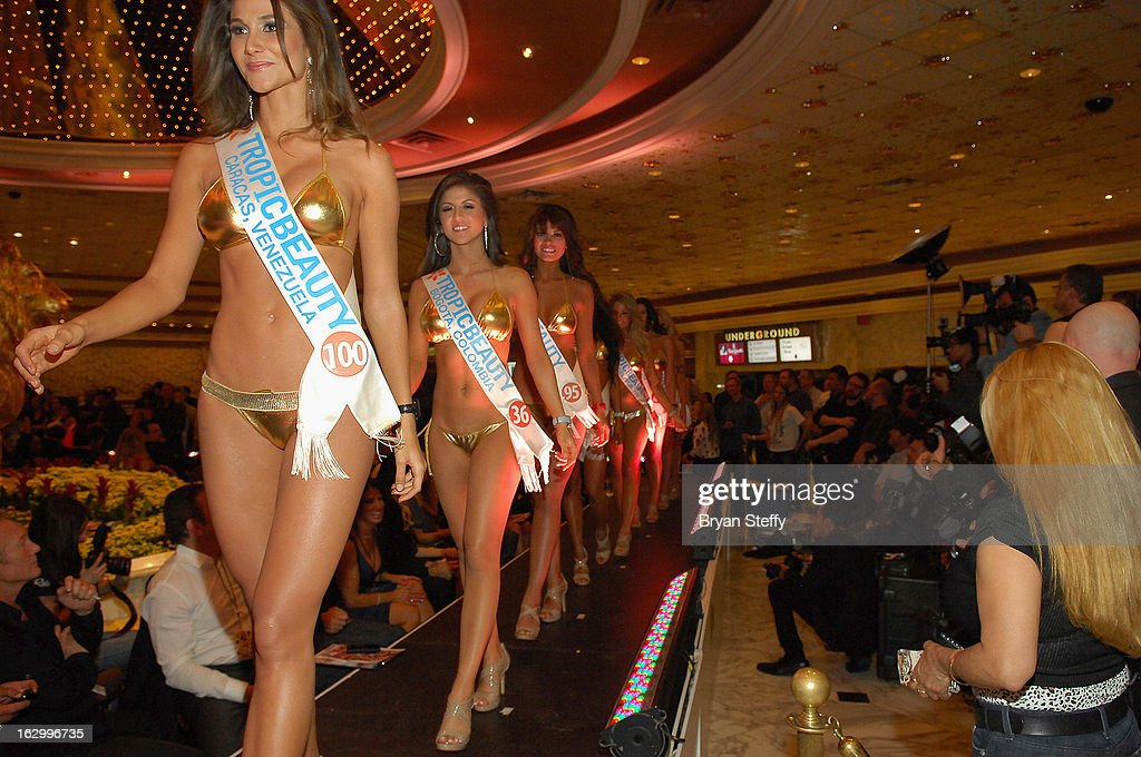 Maria de Luz Da Silva of Venezuela, Nathalia Londono of Colombia and Sendy Caceres of Paraguay compete in the third annual TropicBeauty World Finals at the MGM Grand Hotel/Casino on March 2, 2013 in Las Vegas, Nevada.