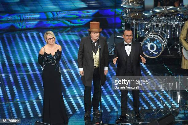 Maria DeFilippi Zucchero and Carlo Conti attend the closing night of 67th Sanremo Festival 2017 at Teatro Ariston on February 11 2017 in Sanremo Italy