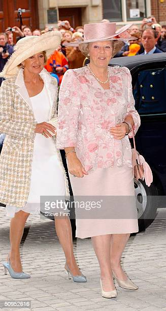 Maria Del Carmen Cerruti and Her Majesty Queen Beatrix arrive for the Christening of baby girl CatharinaAmalia daughter of Dutch Crown Prince Willem...