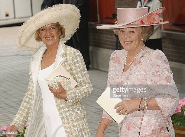 Maria Del Carmen mother of Princess Maxima and Her Majesty Queen Beatrix leave the Christening of baby girl CatharinaAmalia daughter of Dutch Crown...